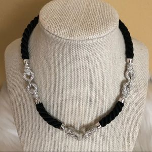 Swarovski Black Rope Crystal Knots Necklace